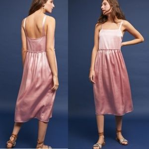 ANTHRO STEELE Rinna Pink Chiffon Midi Flowy Dress